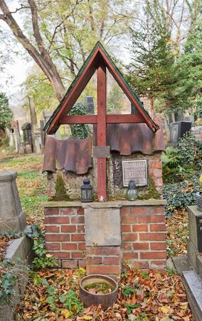 Prague, Czech Republic - November 4, 2017: Tomb of Bohumir Cyril Petr (1905-1976) on Olsany Cemetery in Prague. Petr was a priest, Czech organist, music composer, scientist, topographer and historian