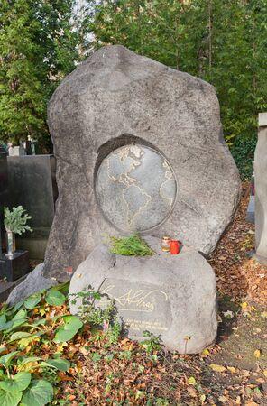 Prague, Czech Republic - November 4, 2017: Tomb of Enrique Stanko Vraz (1860-1932) on Olsany Cemetery in Prague. Vraz was a famous Czech explorer and photographer