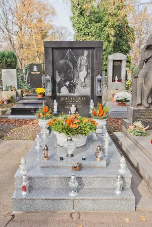 Prague, Czech Republic - November 4, 2017: Tomb of Zdenek Simek (1945-1990) on Olsany Cemetery in Prague. Simek was a Czech circus artist and animal tamer