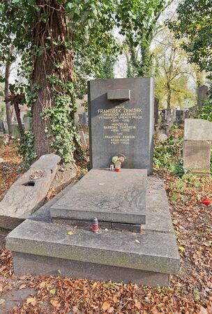 Prague, Czech Republic - November 4, 2017: Tomb of Frantisek Zenisek (1849-1916) on Olsany Cemetery in Prague. Zenisek was a Czech painter, member of Czech National Theater Generation group