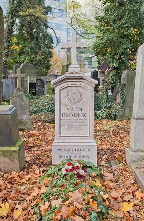 Prague, Czech Republic - November 4, 2017: Tomb of Vilem Blodek (1834-1874) and his relatives on Olsany Cemetery in Prague. Blodek was a Czech composer, flautist, and pianist