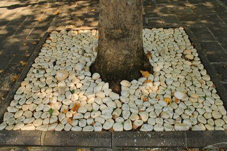 Turkish, Gaziantep, 24 June, - 2019: Stones around tree in garden of historic mosque