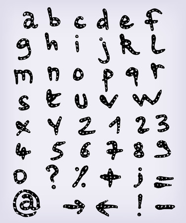 orthographic: Illustration of a set of hand drawn sketched and doodled ABC alphabet letters and numbers with font characters also containing other orthographic symbols