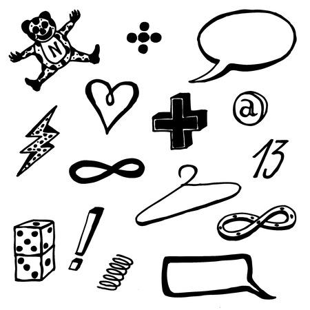 sketched icons: Ilustraci�n de un grupo de mano esbozado Iconos drenados bosquejadas, objetos, s�mbolos, signos y globos de texto, aislado en fondo blanco