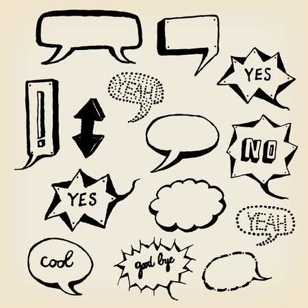 sketched arrows: Illustration of a group of outlined hand drawn sketched speech bubbles elements, arrows, signs on vintage paper
