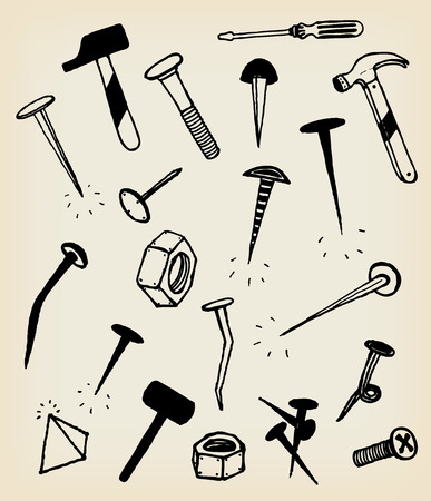 Illustration of a set of hand drawn nails, bolts, screw, hammer and other tools hardware icons, isolated on vintage background frame Vector