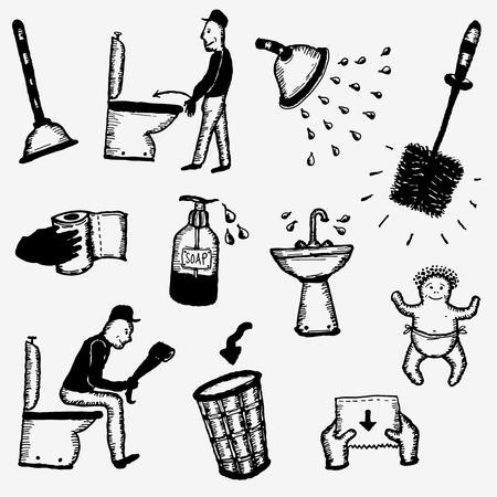 piss: Illustrazione di un set di mano disegnato doodle di igiene