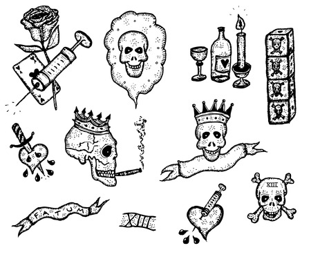 Illustration of addiction and death icons elements, including skulls, bones, syringe, rose flowers Vector