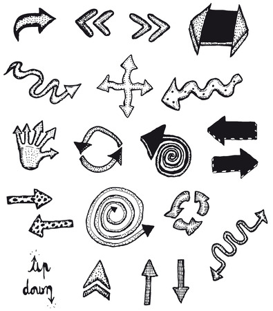 sketched arrows: Illustration of a set of doodle hand drawn arrows and icons with black pencil