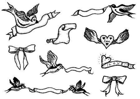 golondrinas: Ilustración de un conjunto de pájaros del doodle de la celebración de banderas y cintas de primavera, cumpleaños y días festivos Vectores