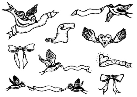 Illustration of a set of doodle birds holding banners and ribbons for spring, birthdays and holidays Illustration