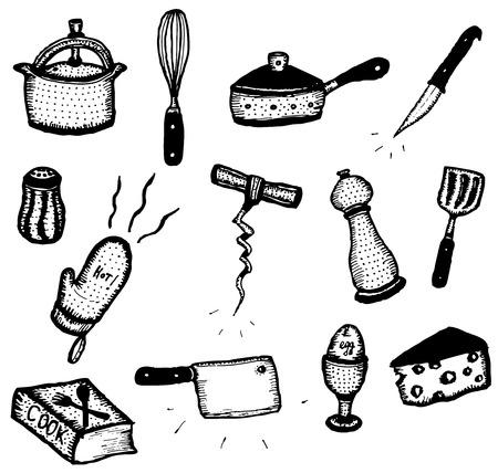 sketched icons: Ilustraci�n de un conjunto de la mano del doodle dibujado con cocina los iconos l�piz, utensilios de cocina, comida y equipo