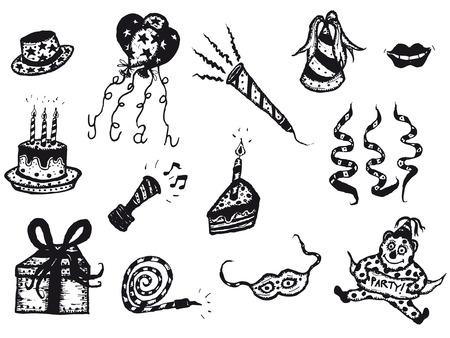 Ilustración de un doodle esbozada conjunto de elementos de cumpleaños y los iconos celebración de días festivos, incluyendo globos, torta, velas aniversario, sonajero, máscara y cintas Foto de archivo - 29813028