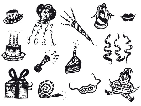 Illustration of a doodle sketched set of birthday and holiday party icons elements, including balloons,cake, anniversary candles, squeaker, mask and ribbons Illustration