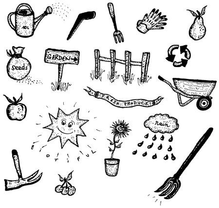 zomertuin: Illustratie van een set van de hand getekende voorjaar of de zomer de tuin en groene ecologische pictogrammen elementen, waaronder gereedschappen, planten en bloemen