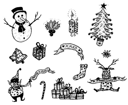 Illustration of a set of doodle hand drawn merry christmas holidays symbols, with snowman, mistletoe, candle, gifts and happy reindeer Vector