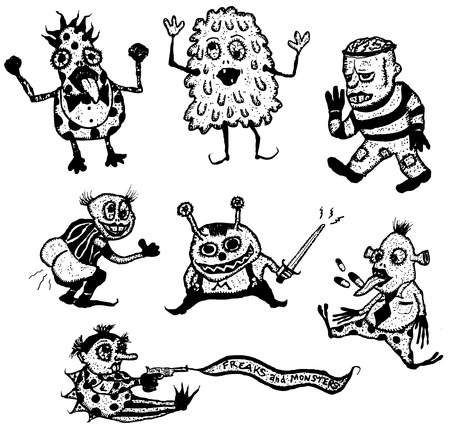 freaks: Illustration of a set of doodle hand drawn halloween holidays and horror freaks monsters and creatures