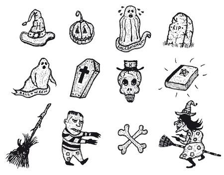 cross bones: Ilustraci�n de un conjunto de mano doodle halloween holidays pictures iconos incluidos jack o'lantern calabaza, bruja, cr�neo y huesos cruzados, l�pidas, fantasma, l�pidas y otros elementos fantasmag�ricos