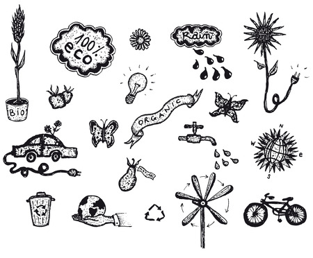 Illustration of a set of hand drawn spring or summer environment friendly and green ecological icons elements, including tools, plants and flowers Vector