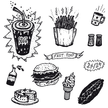 restaurant rapide: Illustration d'un ensemble de restaurants fast-food ic�nes �l�ments, y compris en sandwich hamburger, hot dog, boissons, frites, saucisses et des g�teaux