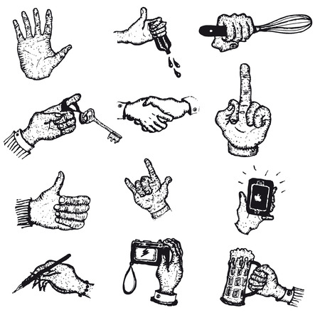 dexterity: Illustration of a set of doodle sketched human hands in action with business hand shake, insults with fingers, fun, cooking, have a drink Illustration