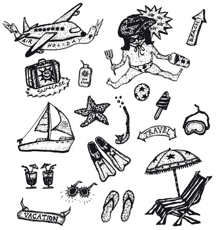 sun block: Illustration of a set of doodle styled holidays, leisure, recreation and vacations Illustration
