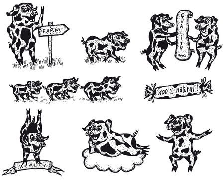Illustration of a set of pig mammals banners and signs for farm food and agriculture advertisement Vector