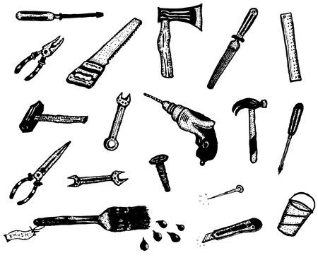 box cutter: Ilustraci�n de un conjunto de h�galo usted mismo los elementos dibujados iconos de hardware de sierra, clavos, tornillos, cutter, atornillador, martillo y otras herramientas de mano, aislado en el fondo blanco