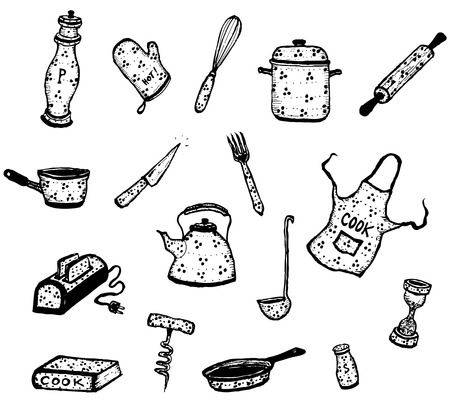 Illustration of a set of kitchenware and cook elements Vector