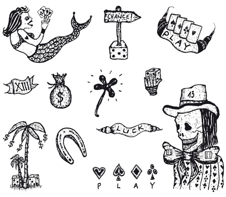 Illustration of a set of doodled hand drawn gambling and luckiness icons elements Vector