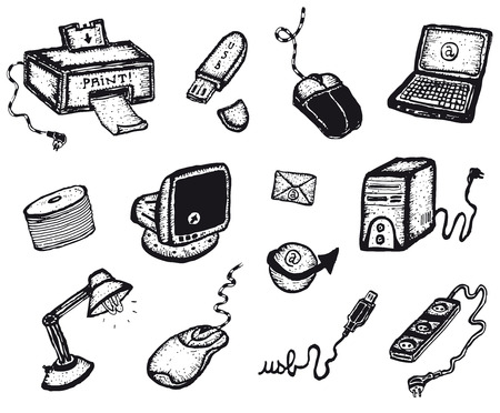 Illustration of a set of software and hardware computer including screen, peripherals and other technology objects and symbols Vector