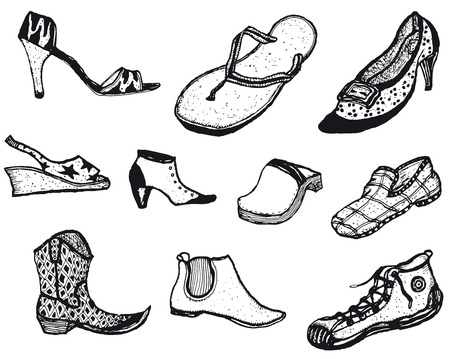 clog: Illustration of a set of various men and womens shoes