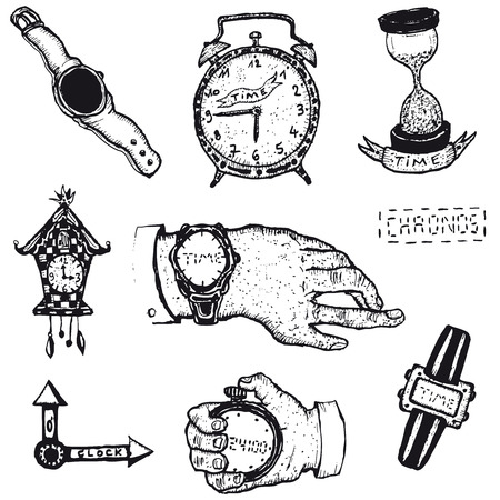 Illustration of a set of doodle hand drawn time icons, watch, clocks and stopwatch Vector