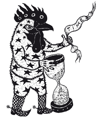 Illustration of a cartoon sketched rooster chicken character holding banner and egg timer, black and white