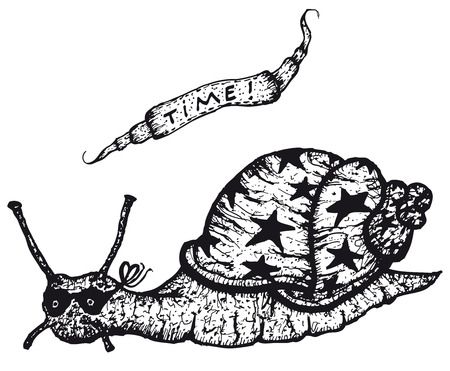 Illustration of a cartoon sketched snail character riding slowly and banner with time, black isolated on white background Illustration