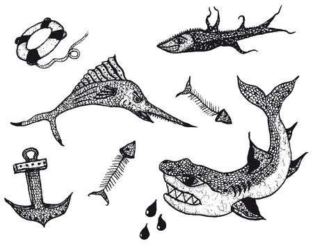 fighting fish: Illustration of a set of fishes and water animals tattoo icons, with swimming shark, anchor and rescue buoy Illustration