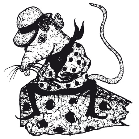 Illustration of a cartoon sketched rat character eating a piece of cheese