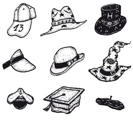 Illustration of a set of doodle hand drawn caps, hats and head wear retail equipment set Vector