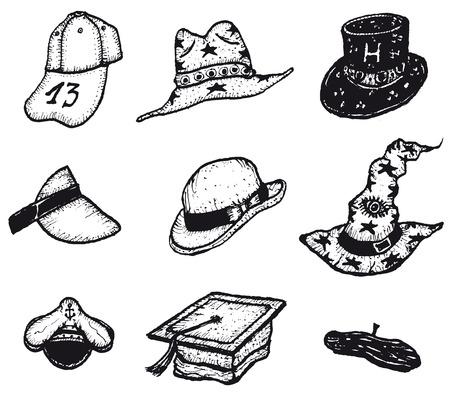 head wear: Illustrazione di una serie di manuali di doodle berretti, cappelli disegnati e la testa indossare set attrezzature di vendita al dettaglio