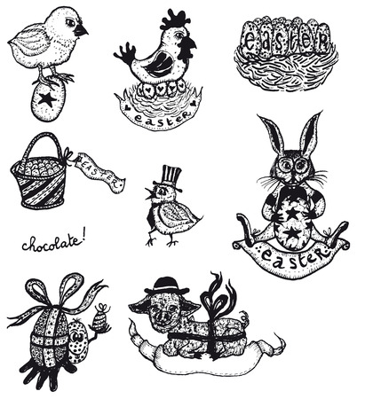 Illustration of a set of doodle hand drawn easter holidays elements, with farm chicken birds, eggs, rabbits and bells Vector