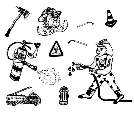 firefighting: Illustration of a set of doodle hand drawn firefighting icons, with fireman character, fire extinguisher, emergency and warning symbols, tools and firefighting elements