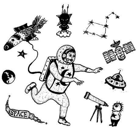 Illustration of a set of doodle hand drawn astronomy icons, with spaceman character, rocket ship, aliens and space exploration elements