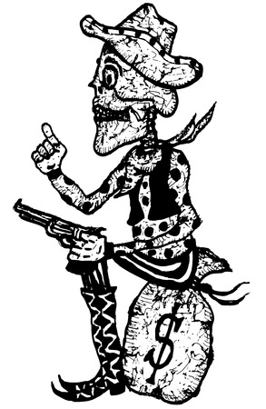 hand holding money bag: Illustration of a doodle hand drawn cartoon western dead skeleton sheriff character, holding gun and sitting on money bag