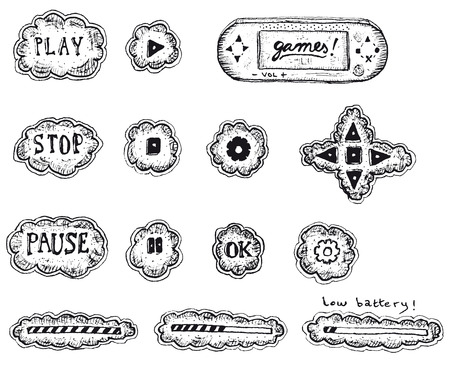 Illustration of a set of sketched hand drawn game user interface icons, with play, pause and stop buttons, load and download bar Vector
