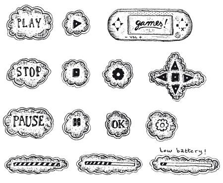sketched icons: Ilustraci�n de un conjunto de iconos de la interfaz de usuario de juego dibujado a mano de boceto, con el juego, pausa y botones, carga y descarga de barra de parada Vectores