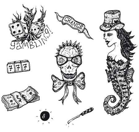 Illustration of a set of doodle hand drawn gambling elements and money earning icons Illustration