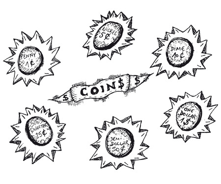 dime: Illustration of a set of doodle hand drawn sketched Usa money coins earnings cash, ranging from penny, nickel, dime, quarter to dollar