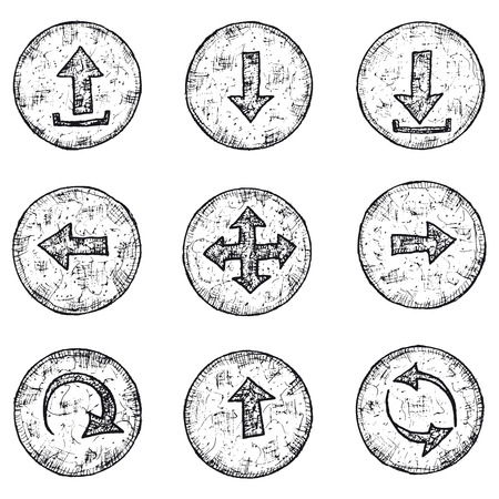connexion: Illustration of a set of doodle hand drawn arrows icons and buttons elements for game ui