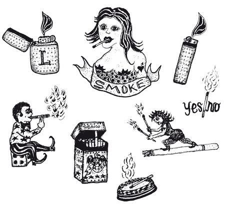 ashtray: Illustration of a set of doodle hand drawn Smoke Tobacco Drugs and Cigarettes elements Illustration