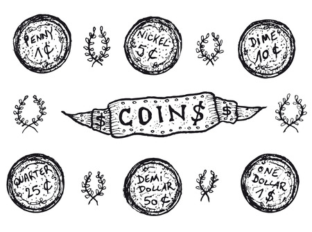 Illustration of a set of doodle hand drawn sketched Usa money coins earnings cash, ranging from penny, nickel, dime, quarter to dollar